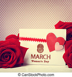 rosas, mensaje, día, rojo, womans