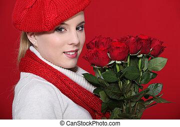 rosas, mulher segura, grupo