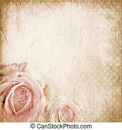 rosas, papel, viejo, Plano de fondo