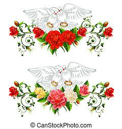 rosas, pombos, anéis, casório