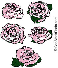 rosas, pretas, pontos, halftone, jogo, cor-de-rosa