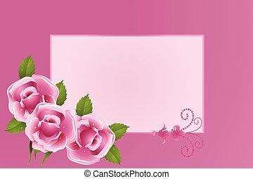 rosas, quadro, flor, saudações, cartão