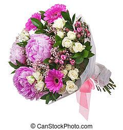 rosas, ramo, aislado, gerbera, fondo., flores blancas, peón, closeup.