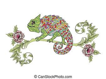 rosas, ramo, camaleão
