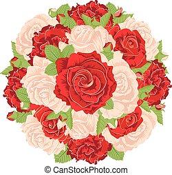 rosas, redondo, grupo