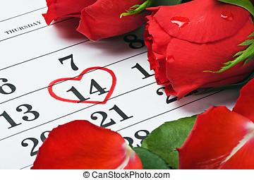 rosas rojas, colocar, en, el, calendario, con, el, fecha,...