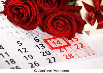 rosas rojas, colocar, en, el, calendario, con, el, fecha, de, february 14, día de valentín