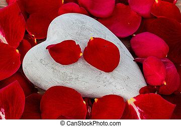 rosas rojas, con, heart., amor, para, día de valentín