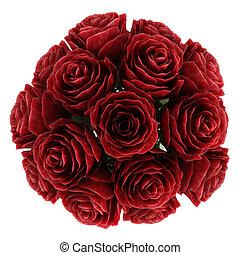 rosas, rojo, profundo, borgoña, florero