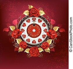 rosas, rojo, reloj