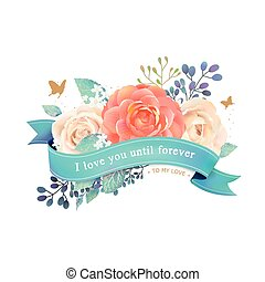 rosas, romántico, tarjeta de felicitación