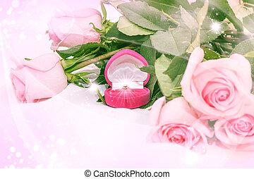 rosas rosa, anillo, diamante