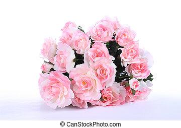 rosas rosa, blanco, tabla
