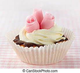 rosas rosa, cupcake, azúcar