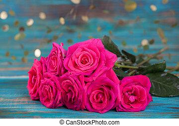 rosas rosa, en, turquesa, plano de fondo