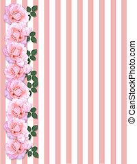 rosas rosa, invitación, plantilla