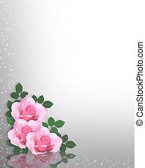 rosas rosa, o, plano de fondo, plantilla
