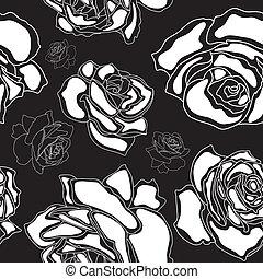 rosas, seamless, patrón