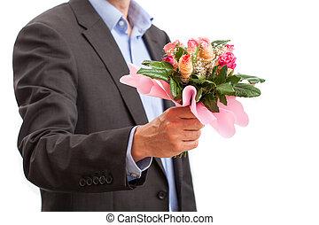 rosas, tenencia, hombre