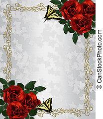 rosas vermelhas, borboletas, borda, convite casamento