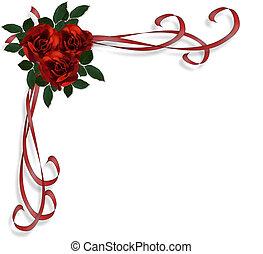 rosas vermelhas, borda, convite