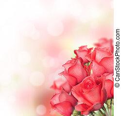 rosas vermelhas, buquet, com, livre, espaço, para, texto