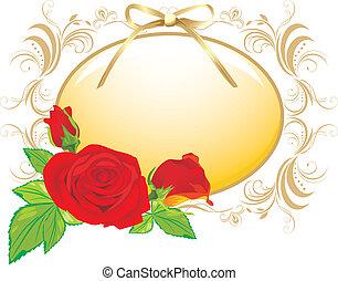 rosas vermelhas, e, decorativo, quadro
