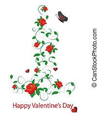 rosas, vetorial, vermelho, valentine