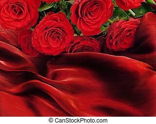 rosas, vinous, tela, rojo