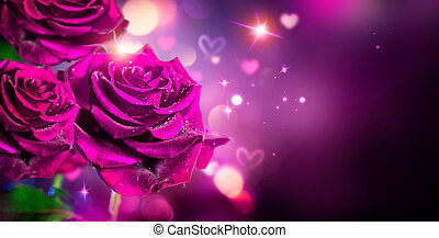 rosas, y, corazones, fondo., valentine, o, boda, tarjeta, diseño