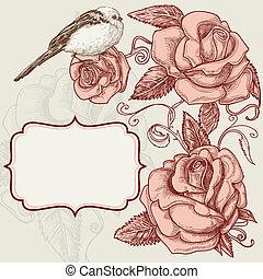 rosas, y, encantador, pájaro, romántico, plano de fondo