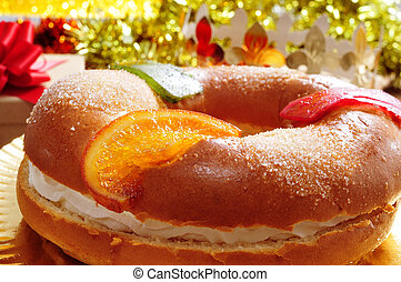 roscon, de, reyes, espanhol, três, reis, bolo