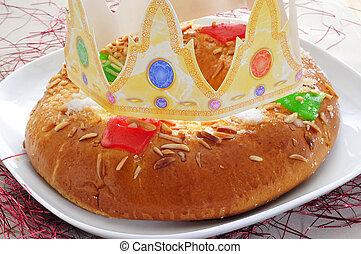 roscon, ellen-, reyes, spanyol, három, király, torta