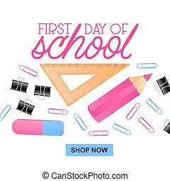 rose, école, règle, couleur, illustration, dessin animé,...