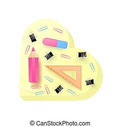 rose, école, règle, couleur, réaliste, vecteur, cahier,...