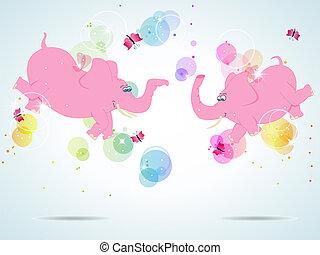 rose, éléphants