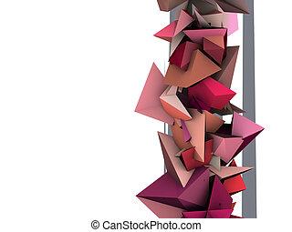 rose, électrique, forme abstraite, épiné, 3d