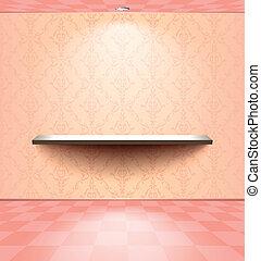 rose, étagère, salle