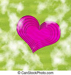 rose, étang, forme coeur, pré