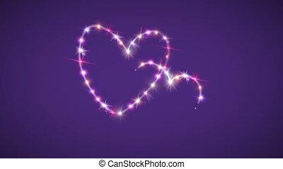 rose, étoile pourpre, fond, cœurs