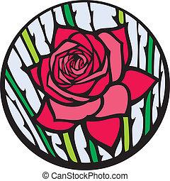 rose., 沾污玻璃