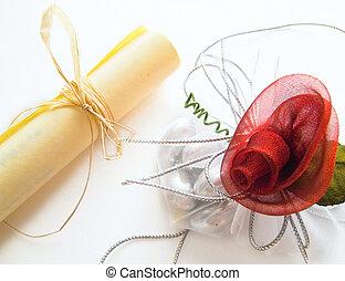 rose., 羊皮紙, 赤