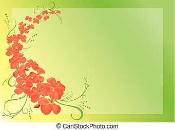 rose, 10, -, eps, vecteur, vert, fleurs, carte