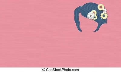 rose, 2d, tête, fleurs, silhouette, femme, salutation, space., day., apparaître, s, arrière-plan animation, cœurs, international, décoré, copie, dessin, carte, femmes