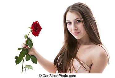 rose, 3, jeune fille, portrait