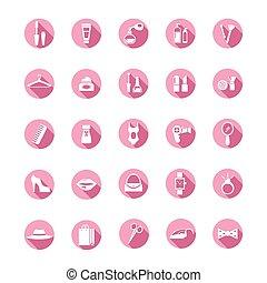 rose, achats, icônes