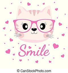rose, agréable, chat, arrière-plan., cœurs, visage blanc, lunettes