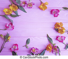 rose, alstromeria, fleur, fond, bois