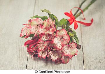 rose, alstromeria, fleurs