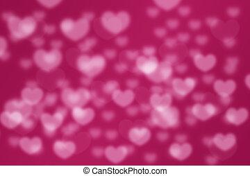 rose, amour, brouillé, bokeh, fond, cœurs